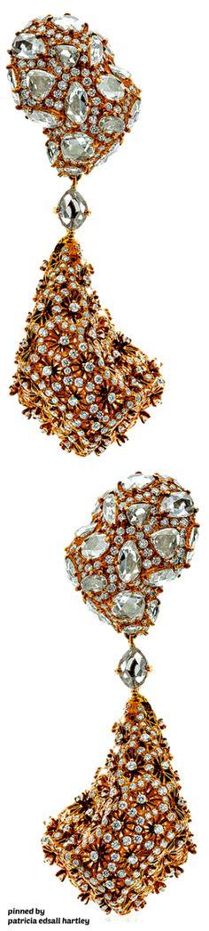 Neha Dani - 18k Rose Gold & Diamond Earrings (Zahara) High Jewelry, Jewelry Accessories, Jewelry Design, Jewellery, Diamond Earrings, Drop Earrings, Silver Style, Brilliant Diamond, Gold Flowers