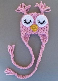 Newborn Sleepy Owl Hat - Blossom Pink or Sky Blue - Photography Prop. $22.00, via Etsy.
