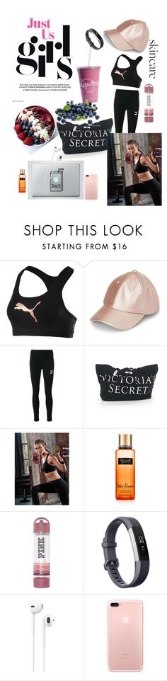 """""""Post workout 🏋🏼♀️"""" by eviiiblabla ❤ liked on Polyvore featuring beauty, Puma, Victoria's Secret, Fitbit, Apple and SkinCare"""