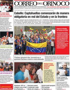 #Titulares de @CorreoOrinoco Lunes 01/09/2014 #DesayunoInformativo #Noticias #Prensa #PrimeraPagina