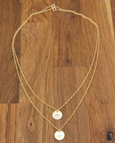 Gold Initial Monogram Disc Charm Necklaces  by StellaSalvador, $68.00
