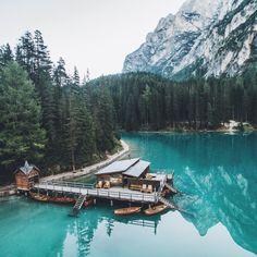 Braies lake, dolomites. Trentino-ALto Adige, Italy