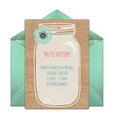 """Check out one of our favorite free wedding invitations, """"Rustic Mason Jar."""" Easily personalize and send via email for a beautiful summer bridal shower, engagement party, or casual wedding! We love the mint green & kraft paper combo. Mason Jar Invitations, Free Wedding Invitations, Brunch Invitations, Online Invitations, Engagement Party Invitations, Birthday Invitations, Invitation Templates, Invitation Design, Mason Jar Birthday"""