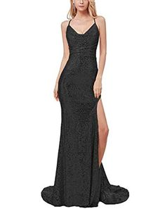 8af0291cd1 Scarisee Women s 2019 Long Halter Sequins Prom Party Dresses with High  Split Formal Spaghetti Straps Evening