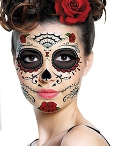 day of the dead sugar skull full face temporary tattoo costume halloween ebay - Halloween Day Of The Dead Face Paint
