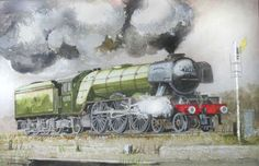 60103 Pacific Watercolour by John Lowerson Paintings For Sale, Original Paintings, Flying Scotsman, Locomotive, Watercolour, A3, Artwork, Transportation, British