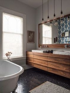 Bathroom Lighting And Vanity Lighting Design Ideas, Pictures, Remodel and Decor Bad Inspiration, Bathroom Inspiration, Bathroom Renos, Bathroom Interior, Bathroom Ideas, Eclectic Bathroom, Bathroom Designs, Wood Bathroom, Bathroom Inspo