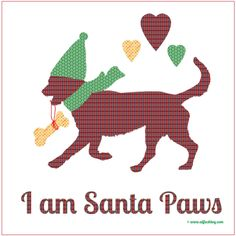 I am Santa Paws! This is one of my own designs - my human used a photo of me and created this design in the computer box. If you like it then you can find the design on lots of products in my shop, just click the pic *waggy tail*