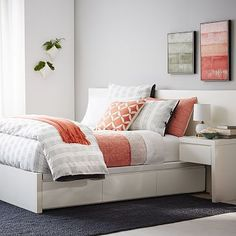 Storage Bed Frame - White I like the way nite stands are integrated in the bed White Headboard, White Nightstand, White Bedding, Orange Bedding, Bed Frame With Storage, Bed Storage, Simple Bed Frame, Home Bedroom, Bedrooms