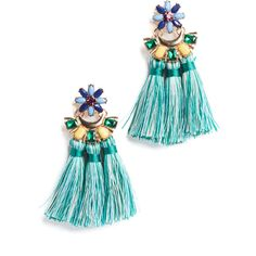 Shashi Flower Tassel Earrings (1,185 HNL) ❤ liked on Polyvore featuring jewelry, earrings, turquoise blue, tri color earrings, multi colored earrings, tassel jewelry, tri color jewelry and 18 karat gold earrings