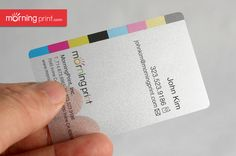 MorningPrint's Sheer Silver Pearl Plastic Business Card. PET 0.22mm (6-7mil) ultra thin / light weight / flexible.
