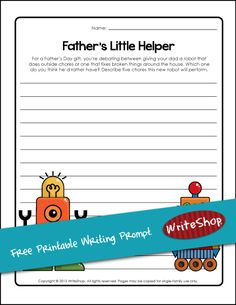 Describe which robot your father would want | Free printable writing prompt