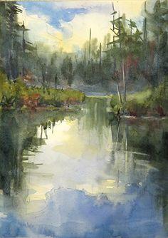 Adirondacks-South Pond by Sarah Yeoman Watercolor ~ 20 x 16