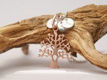 Lebensbaum ❤ Silberkette Gravur Baum rosévergoldet