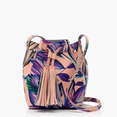 "Our newest bucket bag is crafted in an embossed leather in one of our favorite floral prints of the season—so it's textured<i> and </i>pretty—and features a tassel drawstring closure and a handy interior pocket (so you don't have to dig for your ID/lipstick/phone).<ul><li>8 3/8""H x 5 3/4""W x 5 1/4""D.</li><li>Adjustable shoulder strap fully extends to 24"" shoulder drop.</li><li>Leather.</li><li>Interior pocket.</li><li>Import.</li></ul>"
