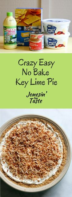 You will not believe how crazy easy this No Bake Key Lime Pie is. It's a little tangy, a little sweet, and so simple you can make it and eat it tonight. #nobakepie #easydessert via @jonesinfortaste