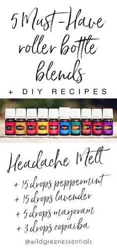 WhenI first began using essential oils, I quickly realized that the easiest + most efficient way to carry my oils with me and use them throughout the day, was to make 10 ml glass roller bottle ble…