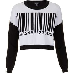 TOPSHOP Knitted Barcode Motif Jumper ($68) ❤ liked on Polyvore featuring tops, sweaters, shirts, jumpers, white, cotton sweaters, white shirt, white slouchy sweater, slouchy shirts and cotton crop top