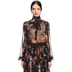Dolce & Gabbana Women Flowers & Space Printed Chiffon Shirt ($950) ❤ liked on Polyvore featuring tops, blouses, black, chiffon blouses, all-over print shirts, sheer collared shirt, sheer shirt and transparent shirt