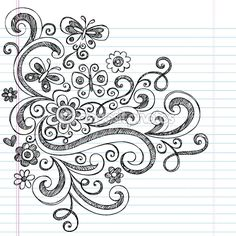 Flower and Butterfly Sketchy Doodles Design Elements — Imagen vectorial #8198764