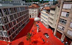 City Lounge is an outdoor space in the center of St. Gallen, Switzerland, that has been designed by Carlos Martinez in collaboration with Pipilotti Rist, as a Lounge, Carlos Martinez, Pavement Art, Red Floor, Social Environment, Landscaping Images, Retail Concepts, Floor Art, Space Architecture