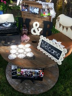 Green-Eyed Girl Productions: Maria & Rob: A Hot Loving July Wedding Welcome Table, vintage type-writer, leave us a love note, burlap card mailbox, cable spool table