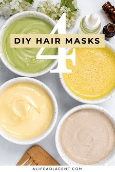 If you want faster hair growth, or if you have dry, damaged, or frizzy hair, make these DIY hair masks! Learn how to make 4 easy homemade hair masks to get silky smooth hair naturally. Perfect for your natural haircare routine, each hair treatment uses ingredients from your kitchen. Includes an avocado hair mask for dry hair, banana hair mask for frizzy hair, castor oil hair mask for growth and hair loss, and a moisturizing mayonnaise hair mask for deep conditioning. ALifeAdjacent.com Hair Masks For Dry Damaged Hair, Dry Hair Mask, Hair Growth Mask Diy, Dry Frizzy Hair, Good Hair Masks, Natural Hair Mask, Mayonnaise Hair Mask, Haut Routine, Moisturizing Hair Mask