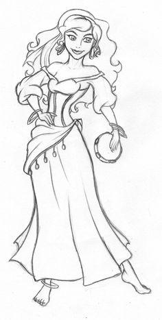 Disney - Esmerelda sketch by kimberly-castello.deviantart.com on @deviantART