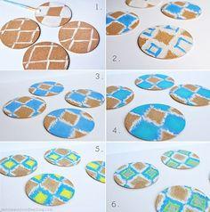 DIY Ikat Coaster steps Cork Crafts, Diy Arts And Crafts, Creative Crafts, Diy Crafts, Cork Coasters, Happy Spring, How To Make Diy, Ikat, Diy Home Decor
