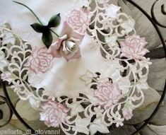Fancy Pink Rose white lace Table Runner 16 x 45