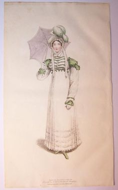 Walking dress with possibly a separate decorated spencer. Belle Assemblee 1816