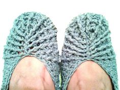 Denim Blue Crochet Slippers 100% Cotton Breathable Ballet Slip Ons for Summer Lounging dailyetsysales Knit Blossom sct on Etsy, $13.50