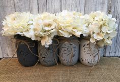 Grey Pint Painted Mason Jars,Vintage,Rustic Home Decor,Wedding Centerpieces, Shabby Chic Painted Mason Jars,Ombre Grey, Bridal Shower by LacyBellesBoutique on Etsy https://www.etsy.com/listing/224110946/grey-pint-painted-mason
