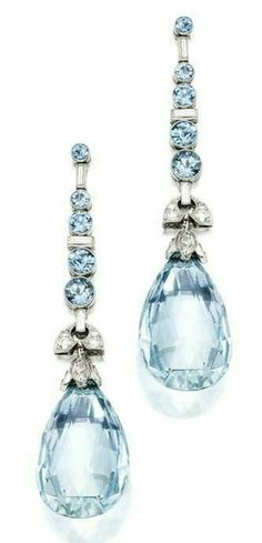 Pair of Platinum, Aquamarine & Diamond Earrings set with briolette & round aquamarines weighing approximately carats, accented by round & baguette Diamonds weighing approximately carats ~ Wedding Jewelry Sets, Jewelry Box, Vintage Jewelry, Jewelry Accessories, Fine Jewelry, Jewelry Design, Jewellery Holder, Wedding Rings, Jewelry Clasps
