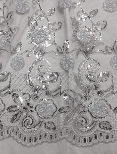 "WHITE MESH W/SILVER FLORAL EMBROIDERY SEQUINS LACE FABRIC 50"" WIDE 1 YD #laceembroiderymesh"
