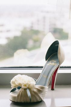 Bridal white Christian Louboutin wedding shoe