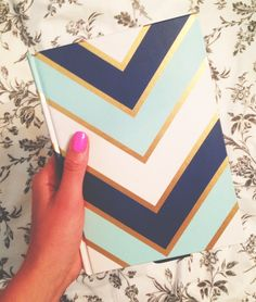 Blue and Gold Chevron Notebook