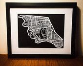 Items similar to Parkdale - High Park riding, Toronto Paper cut map Custom Mats, Unique Gifts, Handmade Gifts, Paper Cutting, Cut Paper, Black Wood, Toronto, My Etsy Shop, Maps