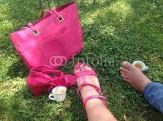 #CoffeeBreak #outdoors #feet #couple #pink #leisure #coffee #lawn #royaltyfree #stockphoto #Fotolia