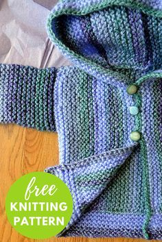 Cozy Baby Sweater Free Knitting Pattern plus a variety of other free patterns Kids Knitting Patterns, Baby Sweater Patterns, Baby Cardigan Knitting Pattern, Knit Baby Sweaters, Knitted Baby Clothes, Knitting For Kids, Easy Knitting, Baby Patterns, Baby Knits