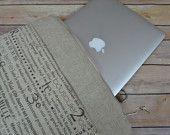 "French Script Canvas & Linen Laptop sleeve / i pad, 11, 13, 15, 17""  Zipper / cross body Messenger, Mac book bag Black / Tan by Darby Mack"