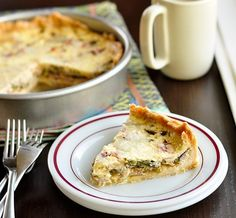 Quiche | 1-2 cups filling ingredients, like bacon, mushrooms, onions, and spinach 1-2 cups (3 oz - 6 oz) grated cheese, like Gruyere, Swiss, or Cheddar 3 large eggs 1 cup (8 oz) milk 1/2 cup (4 oz) cream 1 teaspoon salt
