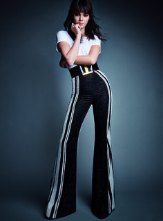 Kendall in high-waist, flare Balmain trousers for Vogue: February 2015