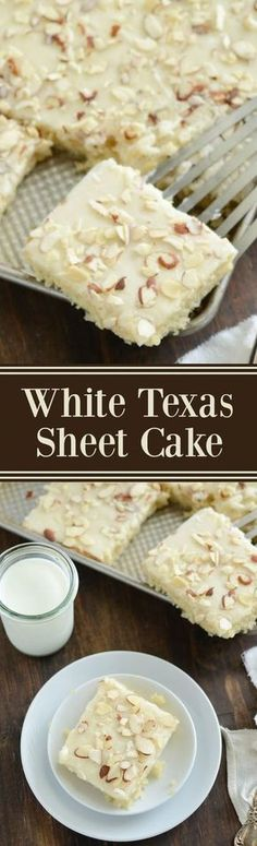 White Texas Almond Sheet Cake Dessert Recipe via The Novice Chef - This perfect buttery cake only takes 30 minutes from start to finish! The Best EASY Sheet Cakes Recipes - Simple and Quick Party Crowds Desserts for Holidays, Special Occasions and Family Sheet Cake Recipes, Dessert Cake Recipes, Oreo Dessert, Sheet Cakes, Frosting Recipes, Recipe Sheet, Recipe Cups, Diy Recipe, Icing Recipe