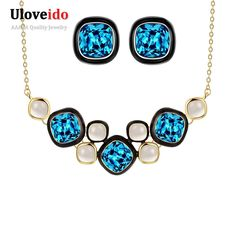 Find More Jewelry Sets Information about Sapphire Jewelry Set 18K Gold Plated Bijoux Femme Wedding Fashion Rhinestone Sets Joyeria Costume Earrings And Necklace Women,High Quality necklace earring display,China earring tag Suppliers, Cheap necklace statement from ULove Fashion Jewelry Store on Aliexpress.com