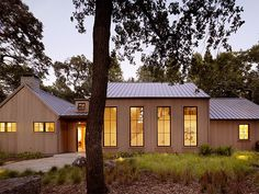 skinny + tall windows give it a farmhouse feel // Charlie Barnett Associates Architects: Residential Architecture in the San Francisco Bay Area - Woodside Residence Pavilion Architecture, Sustainable Architecture, Architecture Details, Modern Architecture, Japanese Architecture, San Francisco Bay, Ste Marguerite, Modern Farmhouse Exterior, Modern Barn