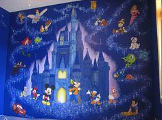 Wonderful Disney Cartoon Movies Murals Theme in Modern Kids Bedroom
