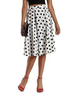 Polka Dot Full Midi Skirt: Charlotte Russe #skirt @polkadots