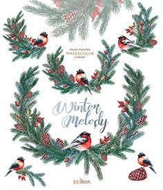 Christmas Watercolor decor. Spruce briar cones bullfinch