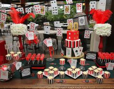 Casino themed dessert table.